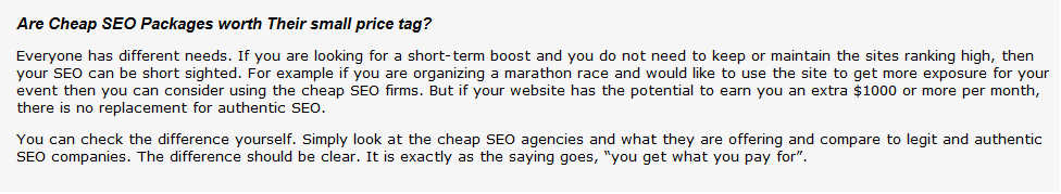 About cheap seo packages